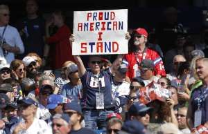 Image: A New England Patriots fan holds a sign as they take on the Houston Texan... - A New England Patriots fan holds a sign as they take on the Houston Texans in Foxborough, Massachuse...