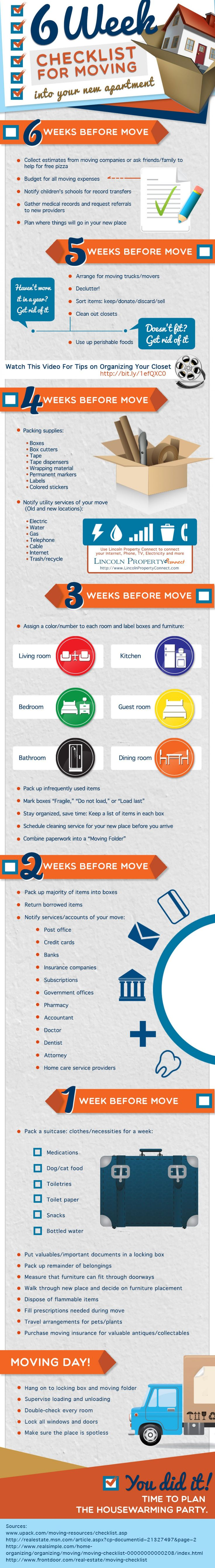 6 Week Checklist for Moving into Your New Apartment Infographic...thorough