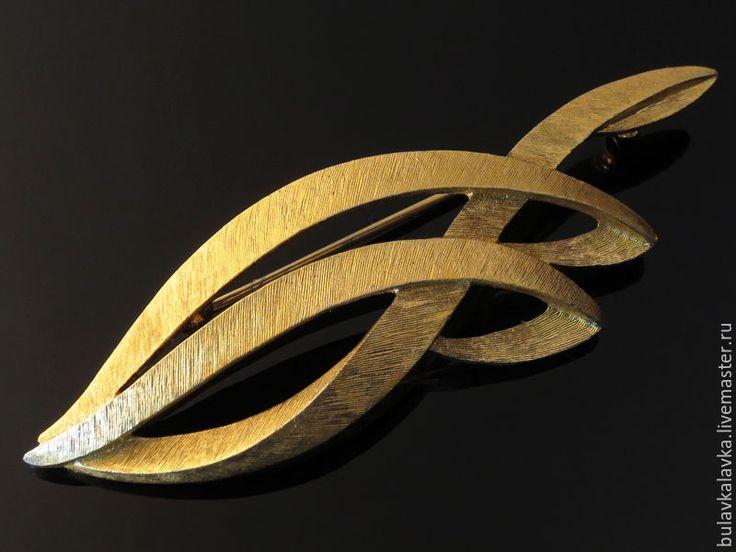 Купить Monet Винтажная брошь - золотой, винтажные броши, винтажные украшения, брошь monet, monet