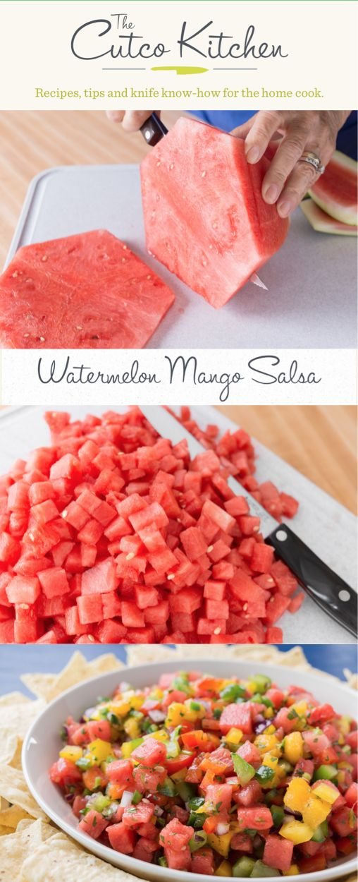 Watermelon Mango Salsa I Switch it up during the summer months by combining watermelon, mango and jalapeños into a sweet and refreshing chip dip I Cutco Kitchen