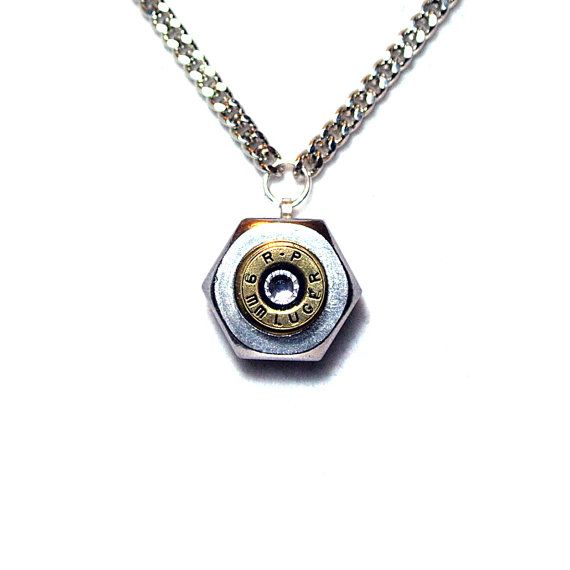Bullet Shell Casing Hex Nut Necklace - 9mm Luger - Swarovski Crystal Accent - Handmade by Diamonds and Coal.  #bulletjewelry #ammojewelry
