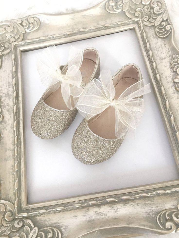 Infant girl shoes, Toddler girl shoes, Kids Girls Shoes -SOFT GOLD fine glitter…