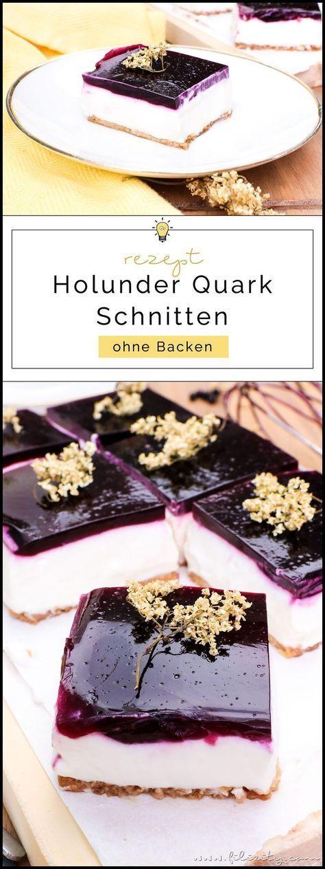 No bake Holunderbeeren-Torte (Holunder-Quark-Schnitten ohne Backen)