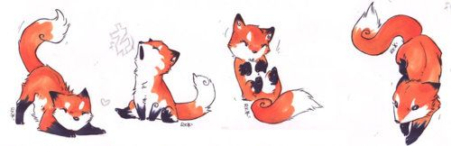 cute fox tattoo designs. Really would like the last one on my foot