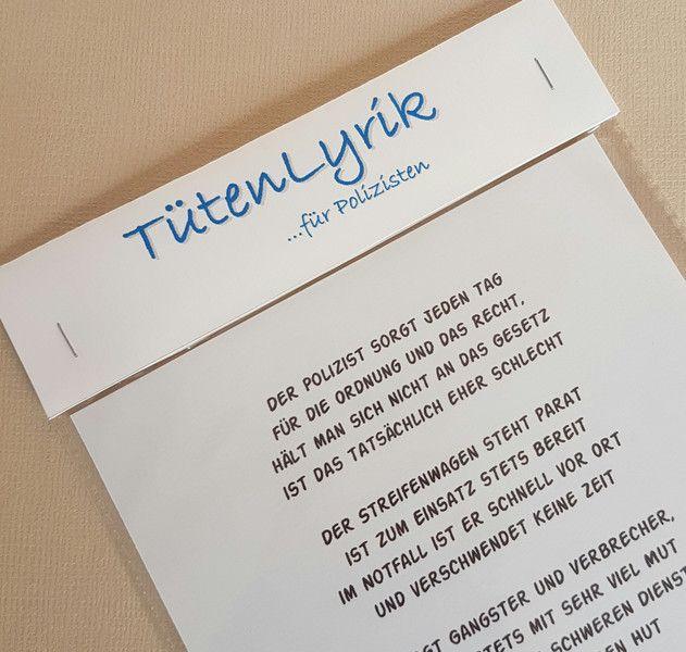 Geschenke für Männer - Tütenlyrik... für den Polizisten - ein Designerstück von textatelier bei DaWanda