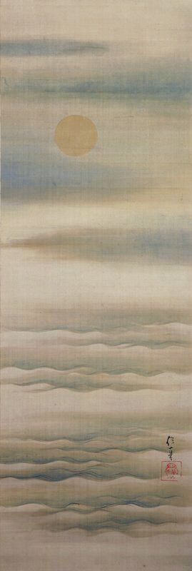 Pale Moon over Soft Waves, early 19th century. Sakai Hōitsu. Japanese hanging scroll. Ink and color on silk. MIA.