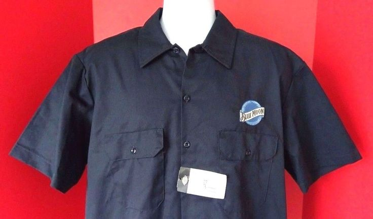 NWT Dickies Blue Moon Beer Mens Work Uniform Casual Button Front Shirt Large #Dickies #ButtonFront