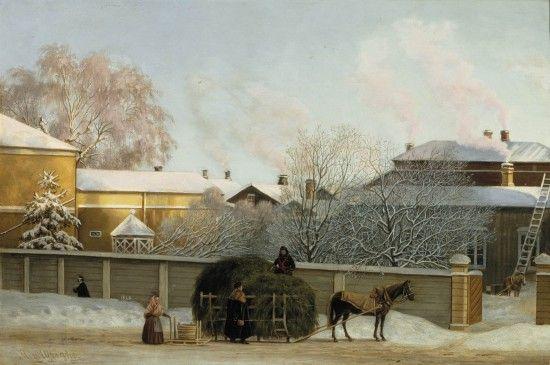 Magnus von Wright: Annankatu kylmänä talviaamuna, 1868.