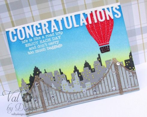 Sightseeing stamp set (stamped & heat embossed w/ gold embossing powder), Cityscape die: all  Mama Elephant, Congratulations word die: MFT Die-namics Graduation Accents die set, Val by Design