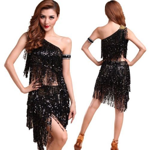 Sexy-Belly-Dance-Costume-Sequin-Bra-Top-Tribal-Sequins-Skirt-Tassel-Dress-Set
