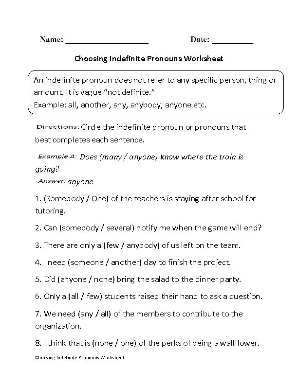 Choosing Indefinite Pronouns Worksheet