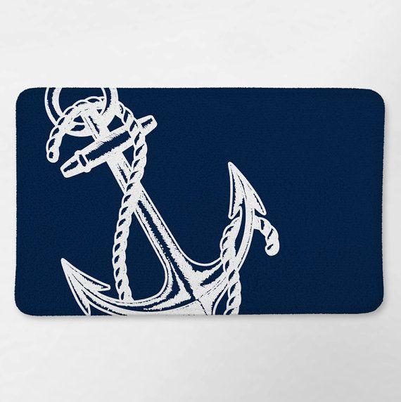 Nautical Bath Rug Nautical Bathroom Navy Blue Anchor By Loftipop
