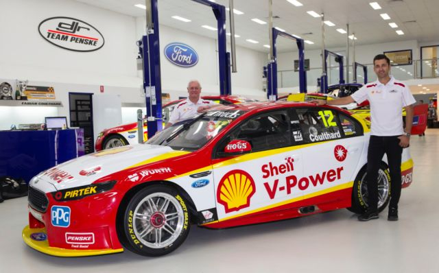 Dick Johnson and Fabian Coulthard show off Penske's V-Power Ford