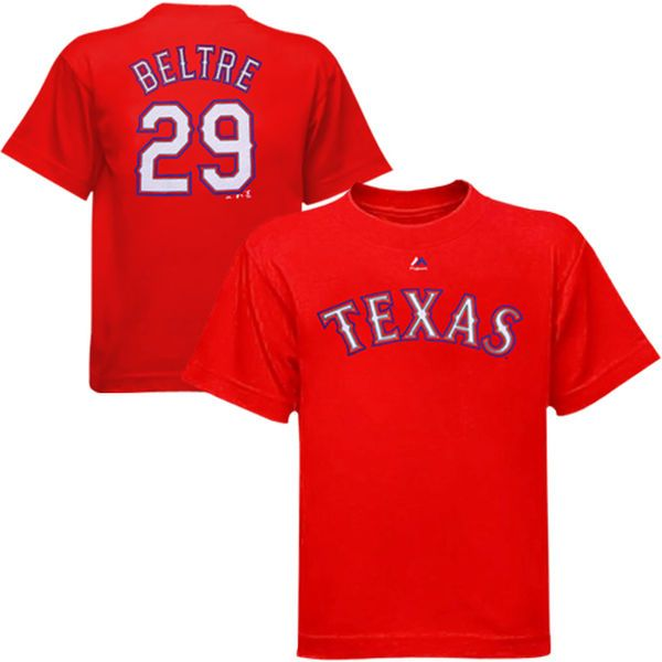 Adrian Beltre Texas Rangers Majestic Youth Player Name & Number T-Shirt - Red - $21.99