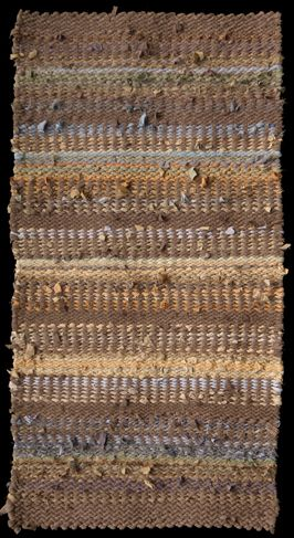 "November rag rug, woven in 2/2 twill from primarily men's clothing and donated yard goods. 63"" x 33""; SOLD. See www.rugsfromrags.... for more about this and other rugs."