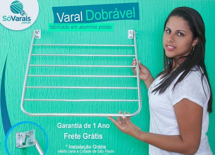Varal Dobrável de Parede  fabricado em alumínio.    O Varal de parede dobrável é fabricado em alumínio polido.    Dica: em hóteis pode ser usado como toalheiro.    1 ano de garantia - Frete Grátis    www.sovarais.com.br    Central de Atendimento:  11 – 3151-5284 / 11- 3231-3144   11- 3214-1886 / SAC - 3255-9021    #varal #sp #casa #decorar #VaraldeParede #ZonaLeste #VaraldeRoupas #SaoPaulo #VilaMariana #ZonaSul #ZonaNorte #ZonaOeste