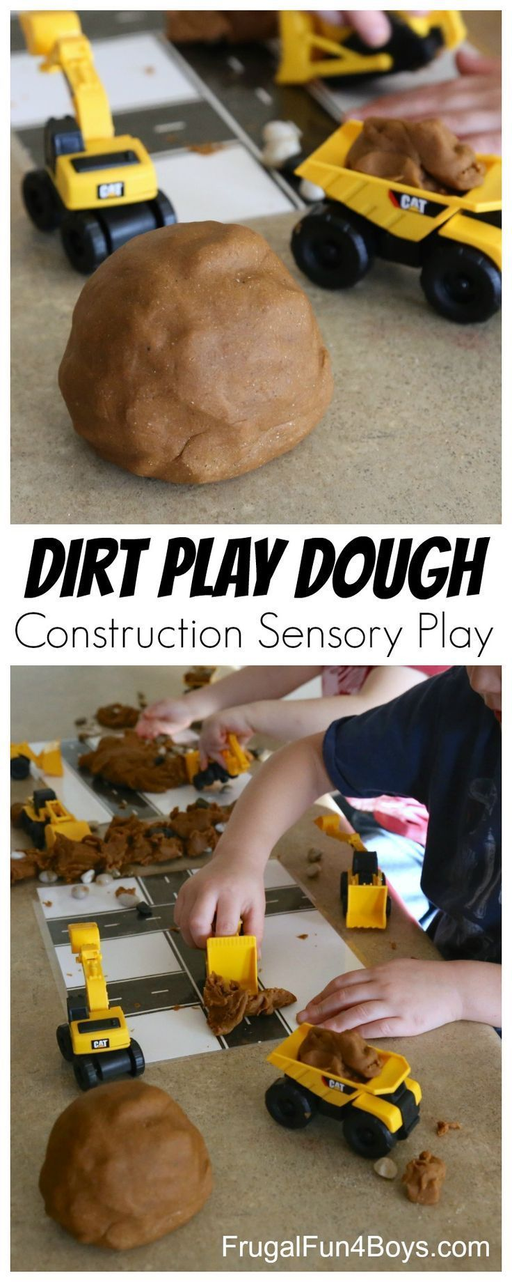 This dirt play dough recipe is perfect for construction themed sensory play! My preschoolers have been loving it. Make some simple laminated play dough mats with roads and kids will have a blast bulldozing the roads and pretending to build! Give your play