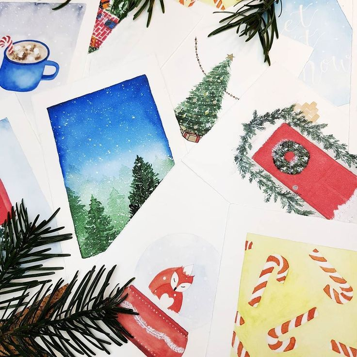 Christmas cards from my watercolor illustrations  love love love the holiday season