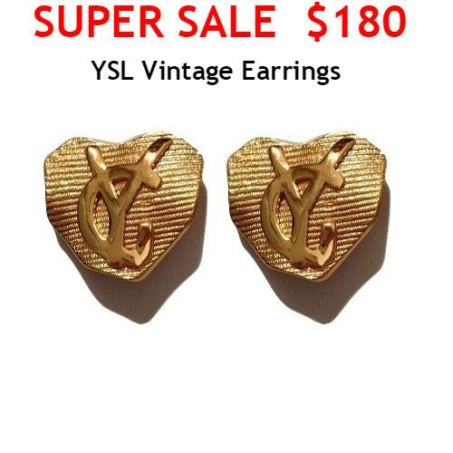 SUPER SALE Yves Saint Laurent Earrings  YSL Logo by MODELUNA76