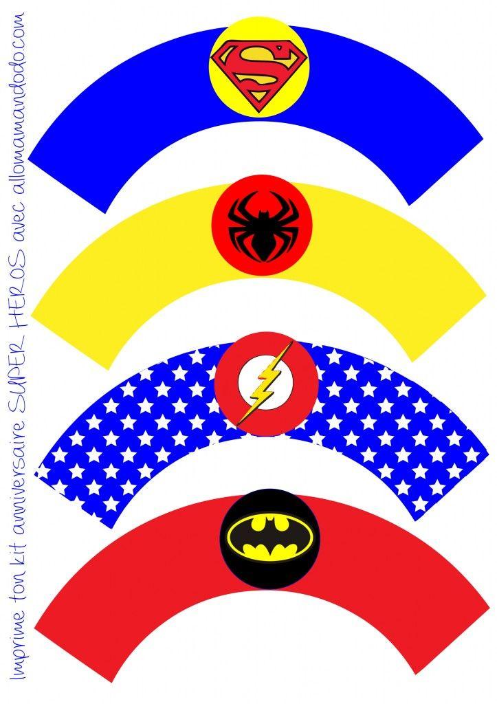 papiers cupcake décoration anniversaire super héros fanion imprimer free printable http://allomamandodo.com/anniversaire-de-super-heros-deco-sweet-table-kit-imprimer-en-cadeau/