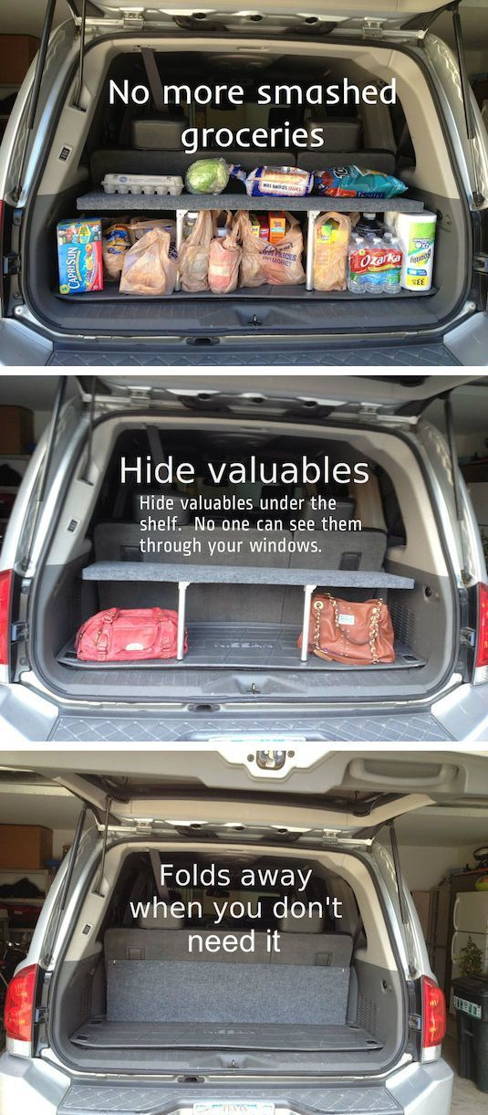 DIY Pop-Up Trunk Shelf... I NEED this!! | 10 Helpful Tips That Will Make You A Better Driver