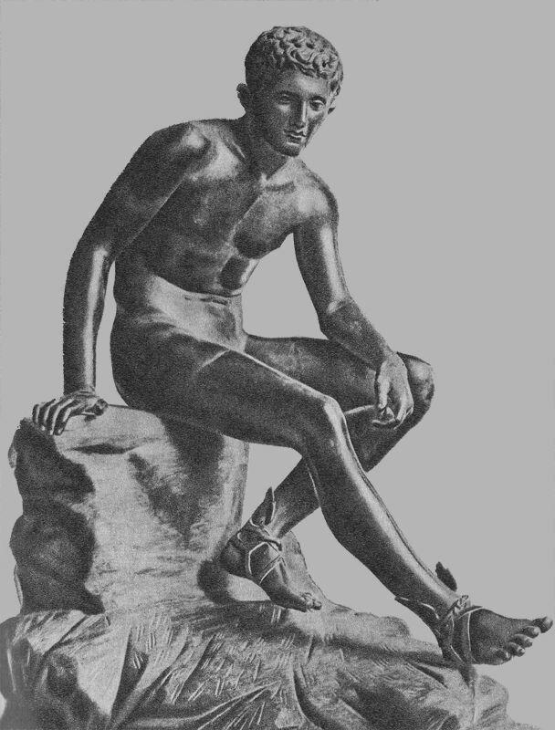 Гермес - бог, посланник богов, покровитель торговли и воровства.(Статуя IV в. до н. э.)