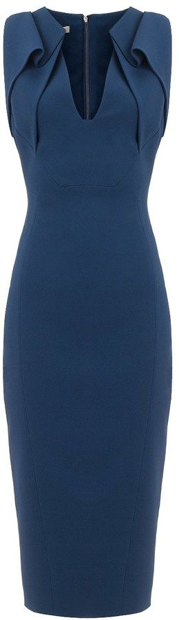 Antonio Berardi Navy Origami Pencil Dress