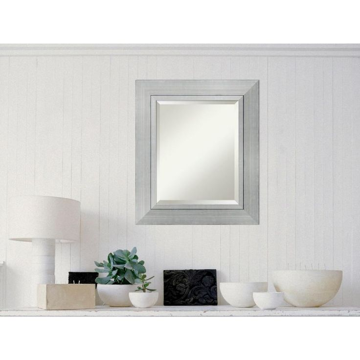 23 in. W x 27 in. H Romano Silver Wood Contemporary Framed Mirror
