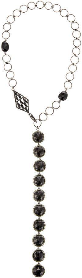 Bavna Black Spinel & Peridot Y-Drop Necklace