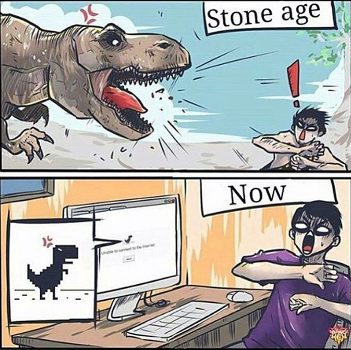 Not accurate because humans didn't exist when the dinosaurs roamed, but it's still funny