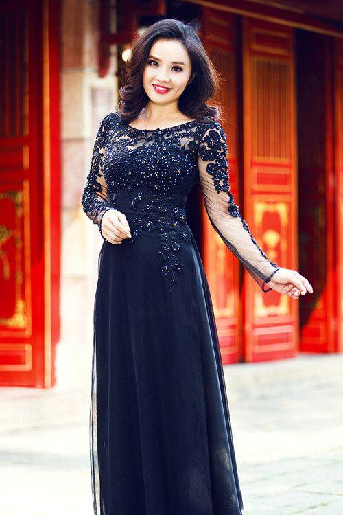 Áo dài đen nền nã cho mẹ uyên ương - Mã SP: MCD107