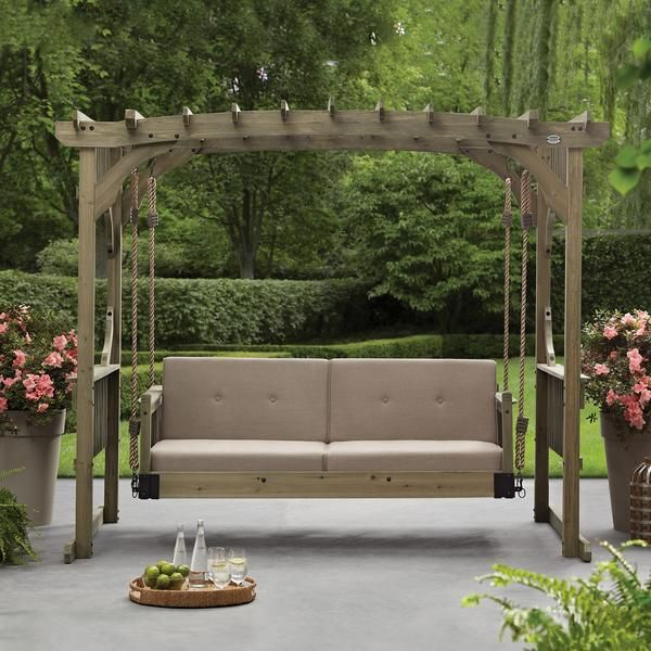 Unwind In This Charming Outdoor Hanging Lounger From Backyard Discovery And Make The Most Of A Summer Day The Adj Outdoor Decor Pergola Designs Rustic Pergola