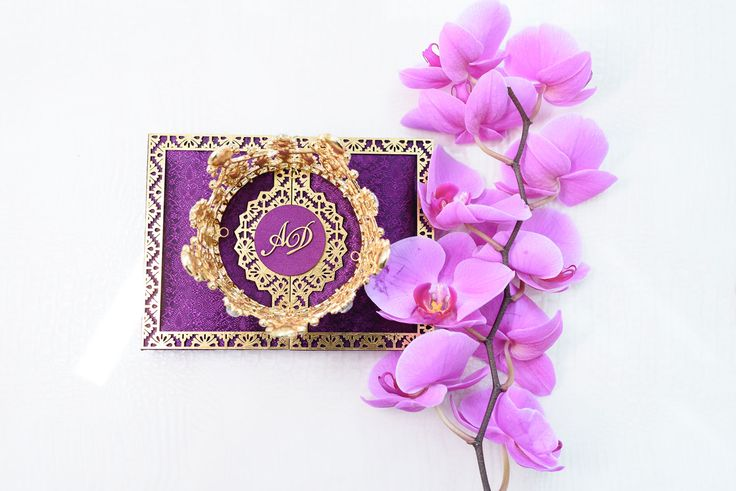 Styled shoot with bright purple color palette storybook setting Lily V Events purple invitation #storybookwedding #purpleandgolddecor