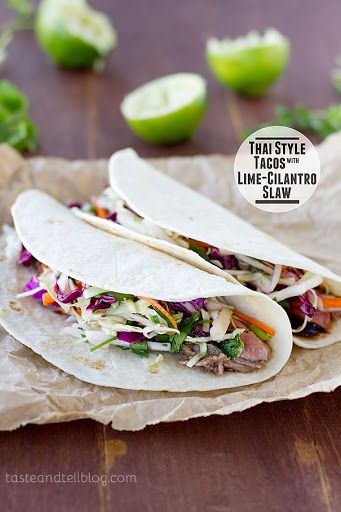 Thai Style Tacos with Lime-Cilantro Slaw Recipe on Yummly