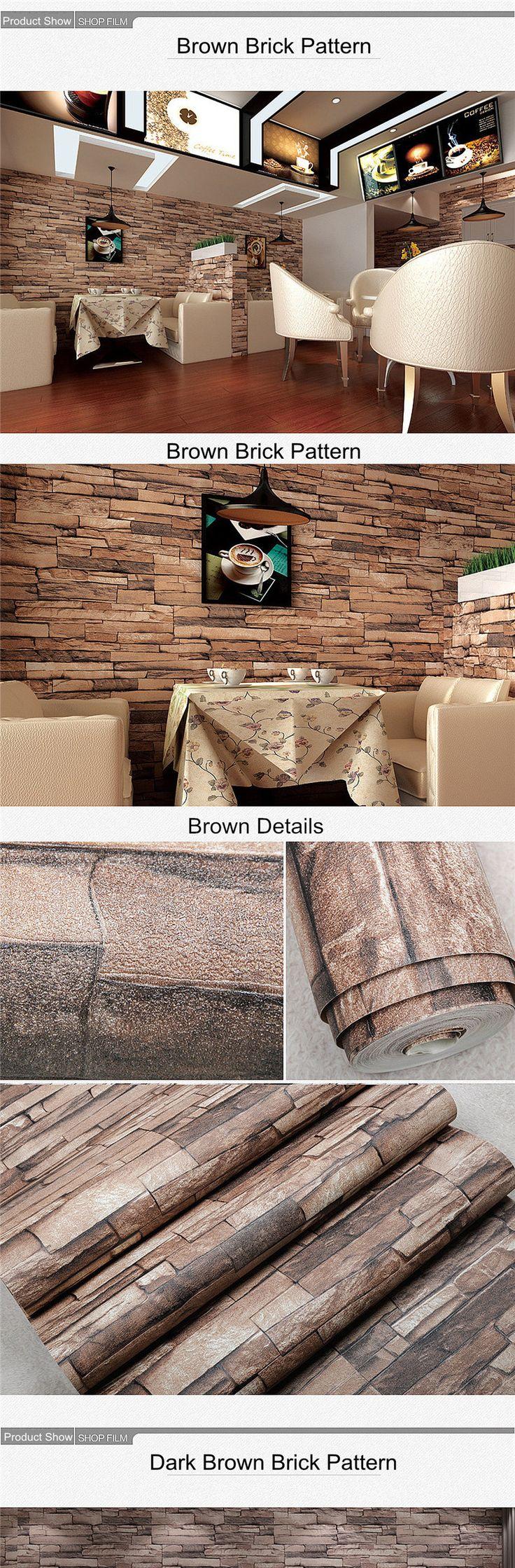 Realistic 3d illustration of modern wooden bookshelf against ston - 10m 3d Wallpaper Roll Pvc Brick Grain Waterproof Wallpaper Natural Wood Pulp Dull Polish Wall Decor