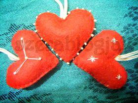 Christmas felt ornaments - hearts
