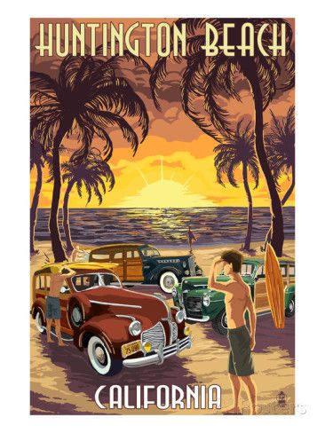Huntington Beach, California - Woodies and Sunset Prints by Lantern Press at AllPosters.com