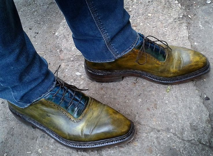 Mr.Calin from Timisoara wearing his amazing custom-made shoes. Look at that unique colour!