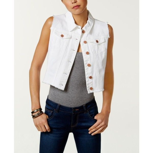 Buffalo David Bitton Cotton Cropped Denim Vest ($56) ❤ liked on Polyvore featuring outerwear, vests, white, buffalo david bitton, cropped denim vests, white waistcoat, white denim vest and vest waistcoat