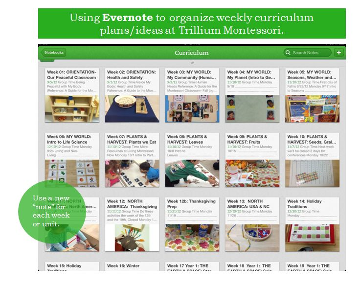 Using Evernote for Out of School Planning Curriculum Planning-Trillium Montessori