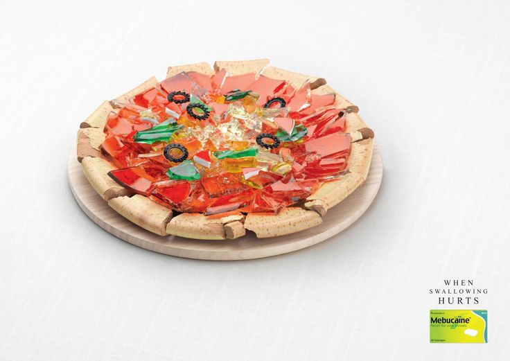 You know when you have one of those really sore throats? When it feels like your swallowing glass with every gulp?    We've all been there and this campaign from #Mebucaine, a sore throat medicine, really brings that feeling to life. The #PrintAdvertisement campaign features also features pineapple, pizza, cake and sushi made of glass (ouch!)  The colours of the glass and the structure of the food is stunning with the product placement easily placed.