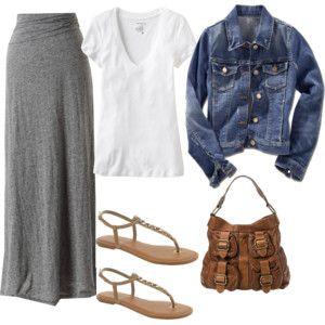 Tee denim jacket knit maxi skirt sandals and hand bag