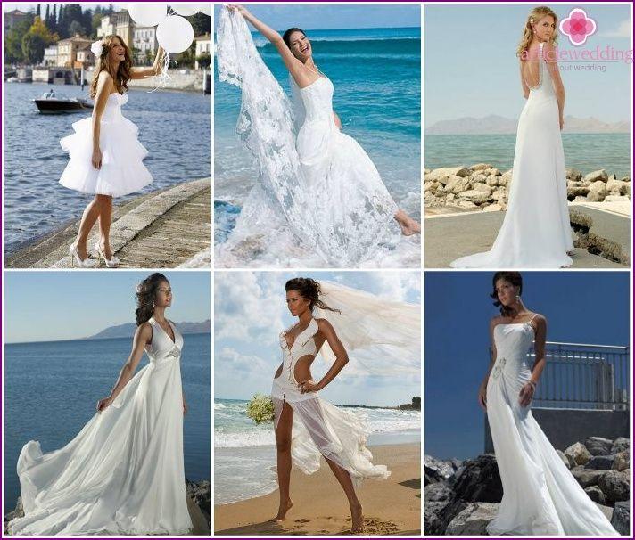 Svadobné šaty na pláži obradu - populárne modely pre nevesty 2015 s fotkou