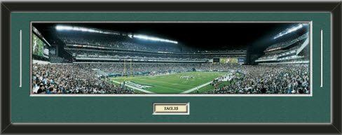 NFL- Philadelphia Eagles - Lincoln Financial Field Framed Panoramic With Team Color Double Matting & Name plaque