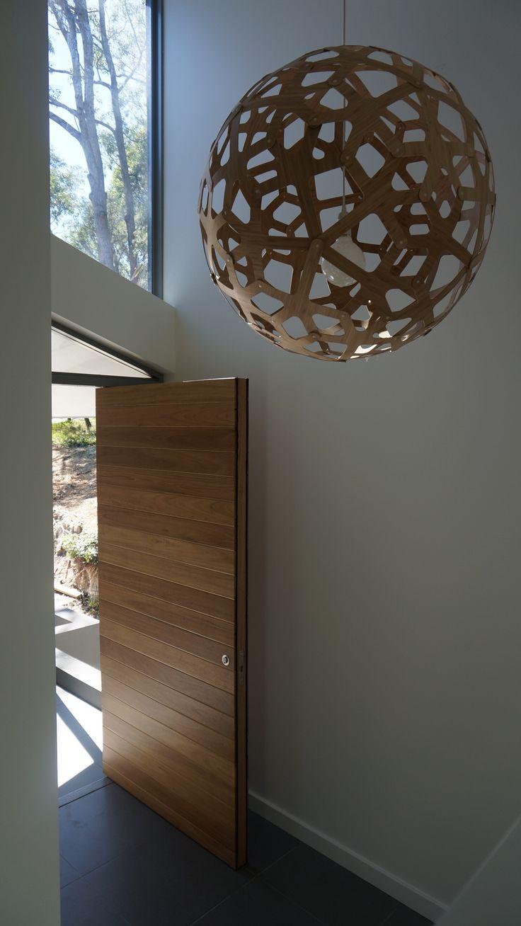 Bayview Project - Timber Pivot front door - lighting