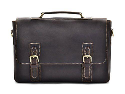 Hlssen Satchel Briefcase Messenger 16 Laptop Genuine Leather Bag ** Click image to review more details. (Note:Amazon affiliate link)