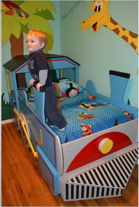Great Landonu0027s New Big Boy Thomas The Train Bed! Made By Grandpa!