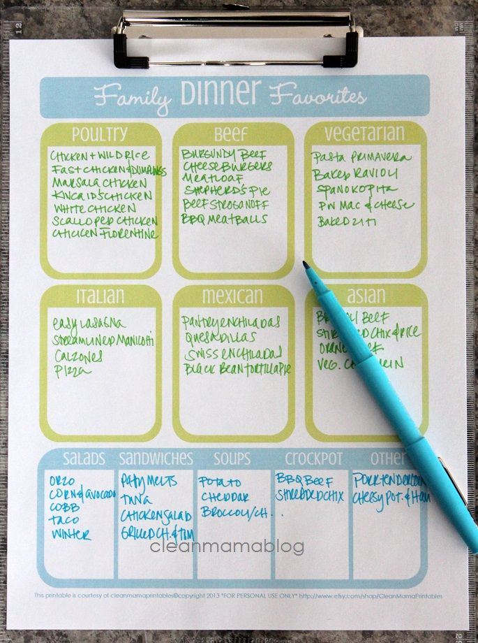 Family Dinner Favorites - FREE printables {3 versions} - Clean Mama