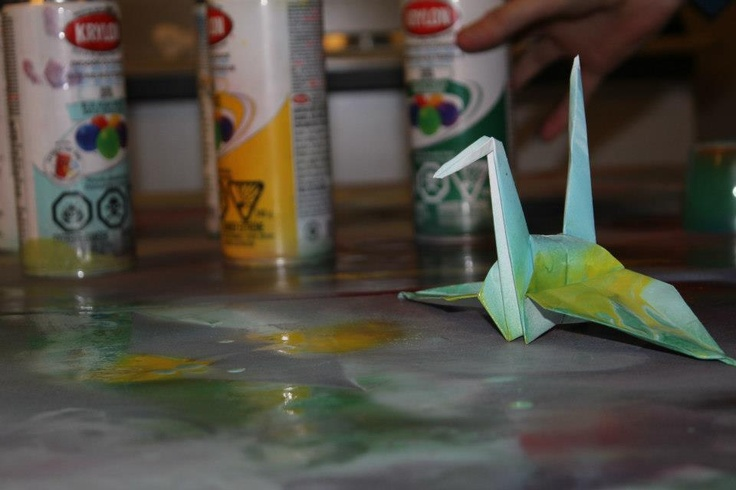 My friends and I spray painted origami, turned out quite nice and I adore this photo I took of one :)