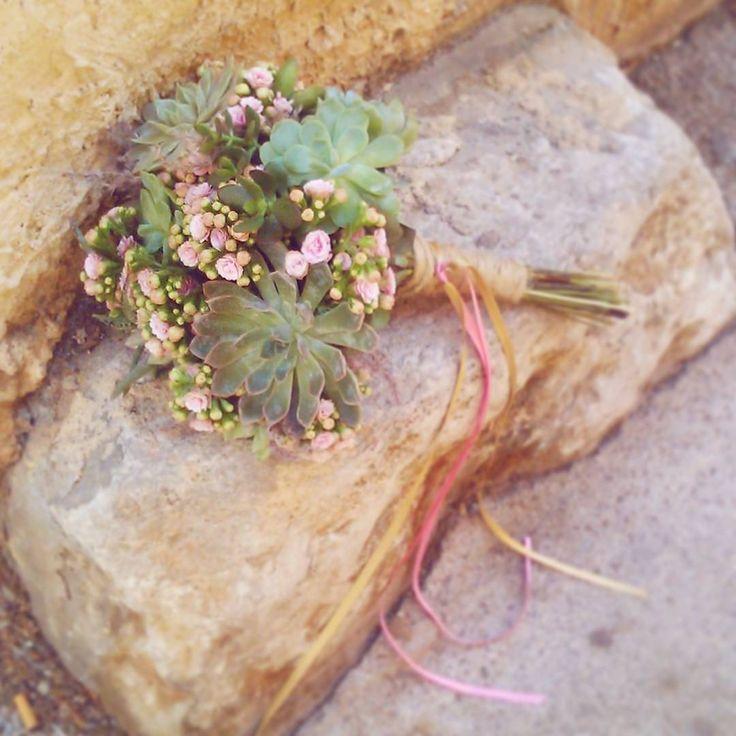 Bouquet de mariée succulente ! Kalanchoe rose  - Mariage vintage - wedding